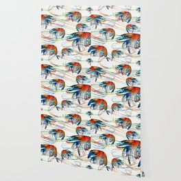 Colorful Shrimp Collage Art by Sharon Cummings Wallpaper