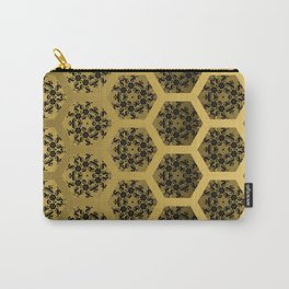 Black and Gold Honeycomb Illusion Graphic Design Pattern Carry-All Pouch