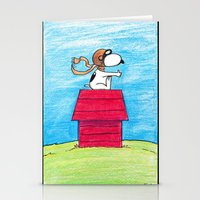 snoopy Stationery Cards featuring pilot Snoopy by DROIDMONKEY