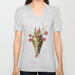 Switch of Celebration - Skull and Flowers Unisex V-Neck