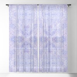 Lavender and white swirls doodles Sheer Curtain