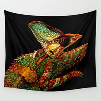chameleon Wall Tapestries featuring KARMA CHAMELEON by Catspaws
