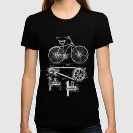 Retro Vintage Bike Lover Print Patent Cycling Gift T-shirt