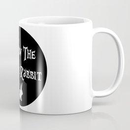 Follow the White Rabbit, circle, black Coffee Mug
