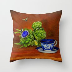 Teacup with Artichokes Throw Pillow