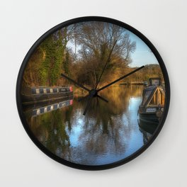 Narrow Boats At Woolhampton Wall Clock