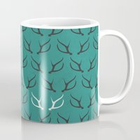 antlers Mugs featuring Antlers by hannahclairehughes