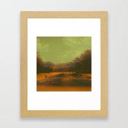 BIRDTREEGREENYELLOWORANGEWATER Framed Art Print