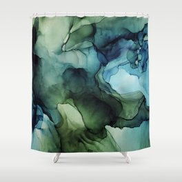Land and Water Abstract Ink Painting Blues and Greens Shower Curtain