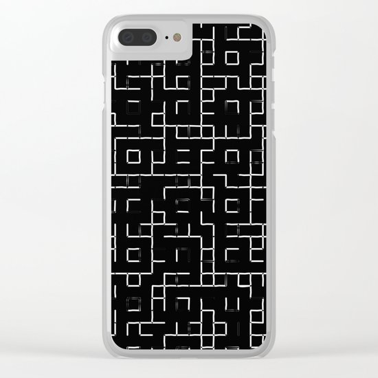 Maze - Black and white, abstract, maze pattern Clear iPhone Case