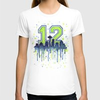 seahawks T-shirts featuring Seattle 12th Man Art Skyline Watercolor  by Olechka