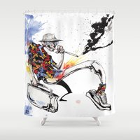 hunter s thompson Shower Curtains featuring Hunter S Thompson by BINDU by BINDU