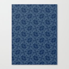 Floral Motif Sashiko Style Japanese Needlework Illustration Canvas Print