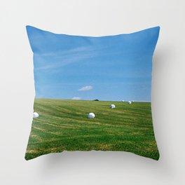 White Bales Throw Pillow