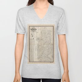 Map of Long Island City, Queens County, New York (1874) Unisex V-Neck