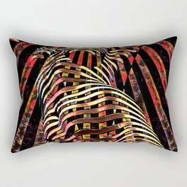 7068-KMA Abstract Feminine Spirit Zebra Striped Woman Powerful Colorful Fine Art Nude Rectangular Pillow