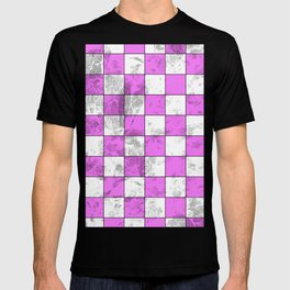 Textured Pink And White Squares T-shirt