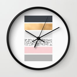 Geo Lines - Slate Gold Marble and Pink Wall Clock