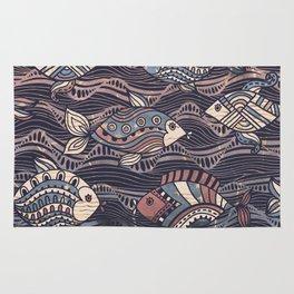 Tribal Fish Texture Pattern Rug