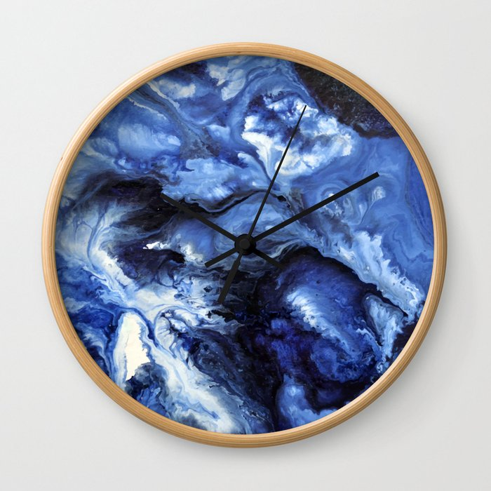Swirling Blue Waters II - Painting Wall Clock