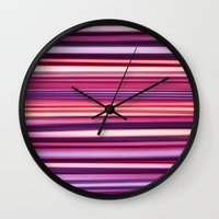 striped Wall Clocks featuring Striped by Scarlet