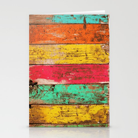 Vintage Colored Wood 3 Stationery Cards