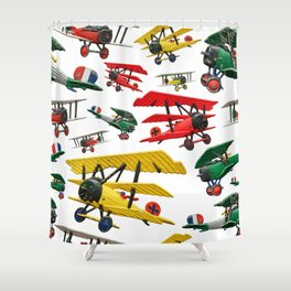 Assorted set of generic vintage First World War toy airplanes Shower Curtain