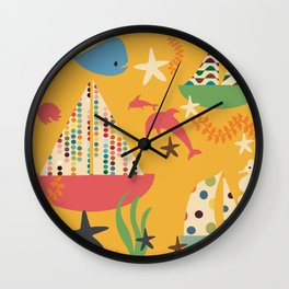 boat yellow Wall Clock