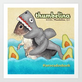 Little Thumbelina Girl: avocado shark Art Print
