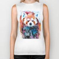 red panda Biker Tanks featuring Red panda by Slaveika Aladjova