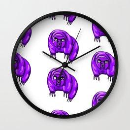 Purple Repeating Tardigrades Pattern Pop Art Wall Clock