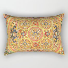 Buddhist Mandala 44 Five Circles Rectangular Pillow
