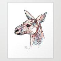 kangaroo Art Prints featuring Kangaroo by Ursula Rodgers
