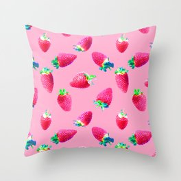 Pink Strawberry Pop Throw Pillow