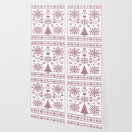 Christmas Cross Stitch Embroidery Sampler Pink And White Wallpaper