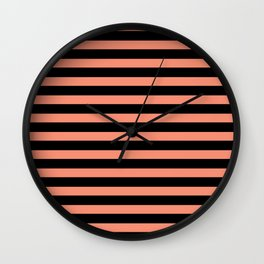 Black and coral striped pattern Wall Clock