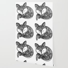 Black and White Mandala Fox Design Illustration Wallpaper