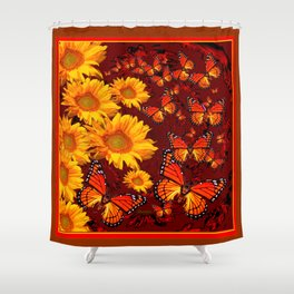 Golden Yellow Sun flowers & Orange Monarchs Brown Art Shower Curtain
