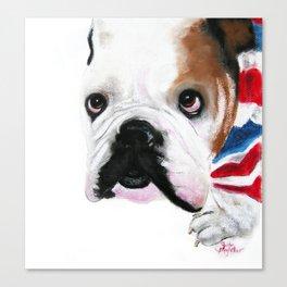 Nosey British Bulldog ' REGGIE ' by Shirley MacArthut Canvas Print