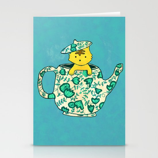 Dinnerware sets - Kitten in a teapot Stationery Cards