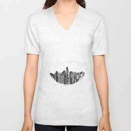 Los Angeles in a glass bowl on blue background Unisex V-Neck