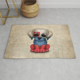 Cute Puppy Dog with flag of Slovakia Rug