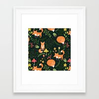 foxes Framed Art Prints featuring Foxes by Julia Badeeva