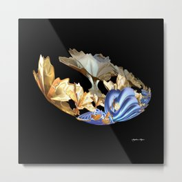 Gold Flowers Metal Print