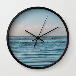 Quiet soft beach || sunset nature travel photography || pastel surf ocean waves fine art digital print Wall Clock