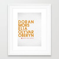 martell Framed Art Prints featuring House Martell Typography series II by P3RF3KT