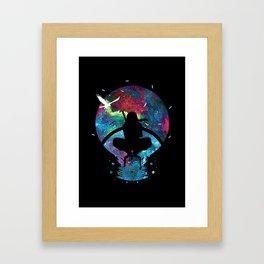Grungy Ninja Silhouette Framed Art Print