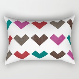 leather geometric love on white Rectangular Pillow
