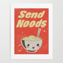 Send Noods Vintage Ramen Noodles Japanese Food Gift For Foodies Poster