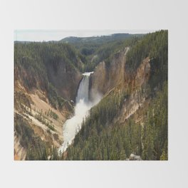 Majestic Upper Falls - Yellowstone Valley Throw Blanket